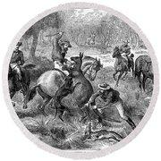 Kangaroo Hunting, 1876 Round Beach Towel