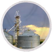 Round Beach Towel featuring the photograph Kansas Farm by Jeanette C Landstrom