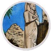 Karnak Temple Egypt Round Beach Towel