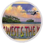 Round Beach Towel featuring the painting Key West Air Force by David  Van Hulst