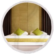 Round Beach Towel featuring the photograph King Size Bed by Atiketta Sangasaeng