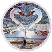 Round Beach Towel featuring the photograph Kissing Swans by Alice Gipson