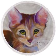 Kitten Princess Round Beach Towel