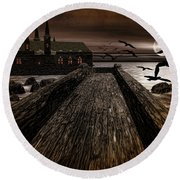Knight's View Round Beach Towel by Lourry Legarde