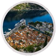 Round Beach Towel featuring the photograph Kotor Montenegro by David Gleeson