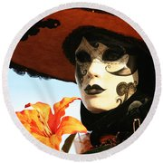 Lady In Orange With Flower Round Beach Towel