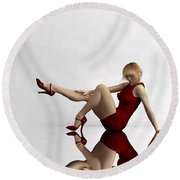 Lady In Red... Round Beach Towel by Tim Fillingim