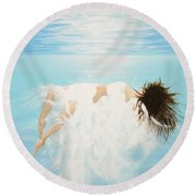 Round Beach Towel featuring the painting Lady Of The Water by Kume Bryant