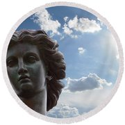 Round Beach Towel featuring the photograph Lady Of The Waters by Sarah McKoy