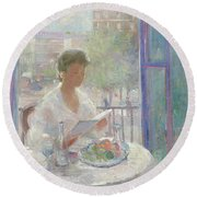 Lady Reading At An Open Window  Round Beach Towel