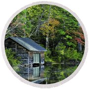 Round Beach Towel featuring the photograph Lake Chocoura Boathouse by Betty Denise