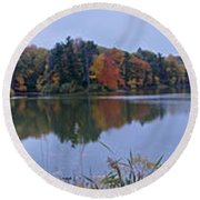 Round Beach Towel featuring the photograph Lake Eastman by William Norton