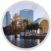 Lake Eola's  Classical Revival Amphitheater Round Beach Towel by Lynn Palmer