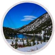 Round Beach Towel featuring the photograph Lake In The Mountains by Shannon Harrington