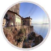 Lake Maggiore Santa Caterina Del Sasso Round Beach Towel