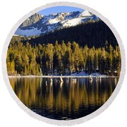 Lake Mary Reflections Round Beach Towel by Lynn Bauer