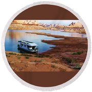Round Beach Towel featuring the photograph Lake Powell Houseboat by Michele Penner