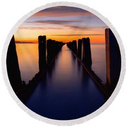 Lake Reflection Round Beach Towel