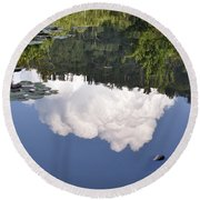 Round Beach Towel featuring the photograph Lake Reflection by Kay Lovingood