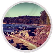 Round Beach Towel featuring the photograph Lake Superior Shoreline by Phil Perkins