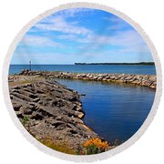Round Beach Towel featuring the photograph Lakeside Bend by Davandra Cribbie