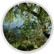Lakeside Tree Round Beach Towel