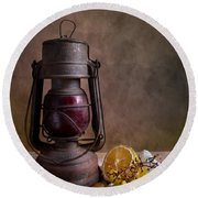 Lamp And Fruits Round Beach Towel by Nailia Schwarz