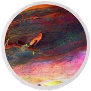 Round Beach Towel featuring the digital art Landing by Richard Laeton