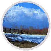 Round Beach Towel featuring the photograph Landscape  Snow Scene by Johanna Bruwer