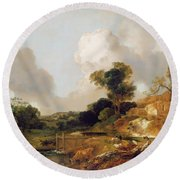 Landscape With Stream And Weir Round Beach Towel