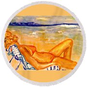 Summertime Round Beach Towel