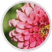 Round Beach Towel featuring the photograph Large Pink Zinnia by Donna  Smith