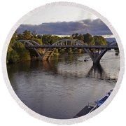 Last Light On Caveman Bridge Round Beach Towel