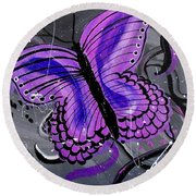 Lavendar Ripple Round Beach Towel