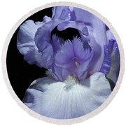 Lavender Blue Iris Round Beach Towel