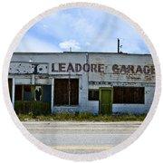 Leadore Garage Round Beach Towel