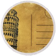 Leaning Tower Of Pisa Postcard Round Beach Towel