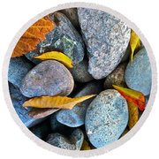 Leaves And Rocks Round Beach Towel by Bill Owen