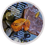 Leaves Rocks Shadows Round Beach Towel by Bill Owen