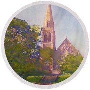 Leckie Memorial  Church  Peebles Scotland Round Beach Towel