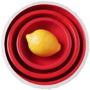 Lemon In Red Bowls Round Beach Towel