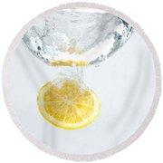 Lemon In The Water Round Beach Towel