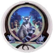 Zoofari Poster The Lemur Round Beach Towel