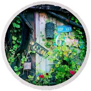 Round Beach Towel featuring the photograph License Plate Wall by Nina Prommer