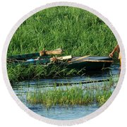 Life Along The Nile Round Beach Towel by Vivian Christopher