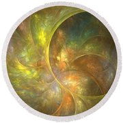 Life Of Leaf - Abstract Art Round Beach Towel