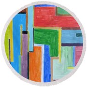 Round Beach Towel featuring the painting Life by Sonali Gangane