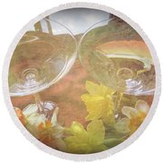 Round Beach Towel featuring the photograph Life's Simple Pleasures by Kay Novy
