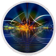 Round Beach Towel featuring the digital art Light On The Water by Mario Carini