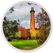 Lighthouse At Currituck Beach Round Beach Towel